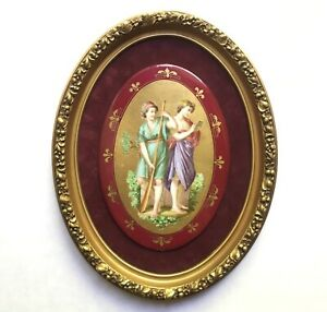 Antique French Limoges Painted Porcelain Plaque Hermes Mythological Victorian