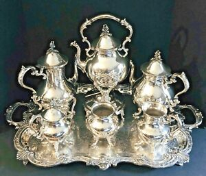 1930s Goldfeder Silver Co Monumental 7 Piece Silverplate Coffee And Tea Service