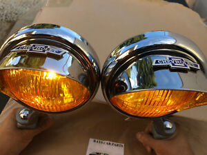 Small 6 Volt Amber Vintage Style Fog Lights B T Visors And Gray Brackets