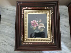 Vintage Eastlake Style Shadow Box Frame With Embroidered Picture