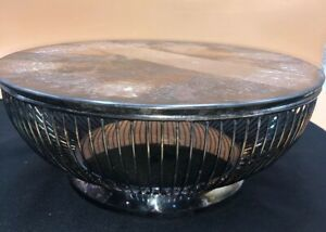 Vintage Gorham Silver Plate Holloware Wire Bread Basket With Lid