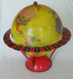 Vintage Replogle Tin Litho Game Globe Bright Colorful Collectible