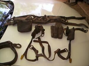 Melling Vintage Lineman Pole Tree Climbing Gear Lot With Spikes Harness Belts