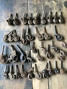 39pc Lot Of Antique Furniture Casters Vtg Steel Cast Iron Wood Wheels Rolling