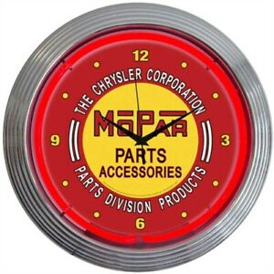 Neonetics 8mpred Mopar Red Vintage Neon Clock 15 Width X 15 Height X 3 Depth