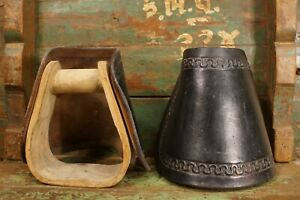 2 Antique Wooden Tooled Leather Horse Stirrups Old Western