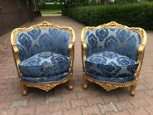 Pair Of Chairs With Damask Fabric In French Louis Xvi Style