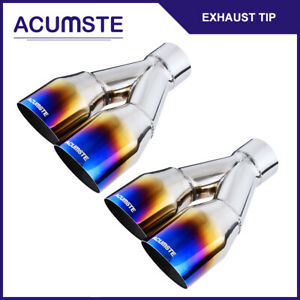 Pair Blue Burnt Exhaust Tip Polished Stainless Steel Angle Cut 2 5 in 3 5 x2 Out