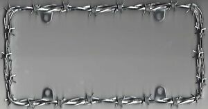 Chrome Barbed Wire License Plate Frame With Caps