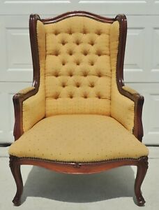Antique Vtg Solid Mahogany Carved Upholstered Wing Arm Chair Brass Studs