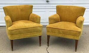 Pair Mid Century Modern Club Lounge Chairs In The Manner Of Paul Mccobb