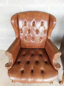 Chippendale Style Tufted Seat Back Wing Back Arm Chairs Set Of 4