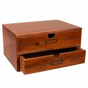Juvale Decorative Wooden Chest Storage Box 2 Drawers Multipurpose Organization