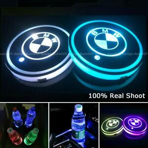 2pcs For Bmw Led Car Logo Cup Holder Pad Auto Interior Atmosphere Lights Colorfu