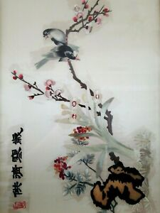 Japanese Silk Embroidery Antique Bird And Flower Signed Sealed Framed 23 25 T