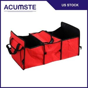 Travel Multi Use Bag Collapsible Box Storage Car Suv Cargo Trunk Organizer Red