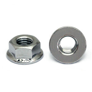 M6 1 0 Metric Stainless Steel Hex Flange Nuts Din 6923 A2 70 18 8 Grade