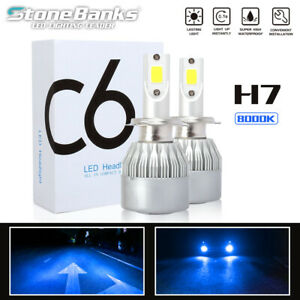 2pcs H7 Ice Blue 8000k Light Cob Led Headlight 100w 20000lm Hi Lo Beams Bulbs Us