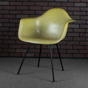 Eames For Herman Miller Dax Dining Height Fiberglass Shell Chair Yellow