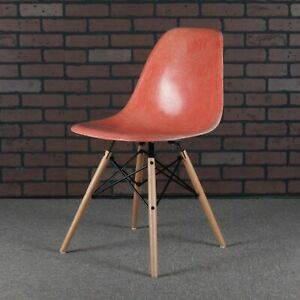 Eames Dsw Shell Chairs For Herman Miller Red Orange