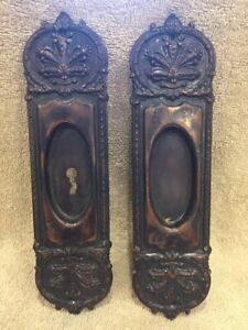 Antique Vintage Pair Stamped Bronze Victorian Pocket Door Pulls Plates