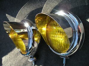 New Pair Small Vintage Style Amber Color Fog Lights With Visors 6 Volts