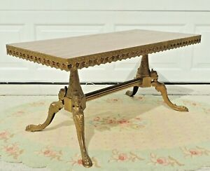 Antique Vtg French Maison Jansen Brass Figural Woman Claw Foot Wood Coffee Table