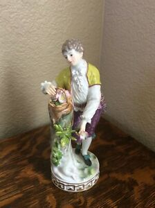Antique 19th C Meissen Porcelain Figurine Boy With Basket 7 5 Tall F68