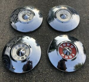 4 Original 1955 1956 Ford Fairlane T Bird Dog Dish Hubcaps