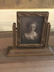 Antique Vintage Standing Swivel Picture Frame With Picture