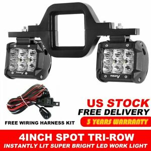 Tow Trailer Hitch Mount Bracket W Pair 4inch Spot Pod Led Lights For Truck Suv