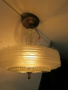 50s Mid Century Solid Glass Ceiling Fixture Light Lamp Flush Mount