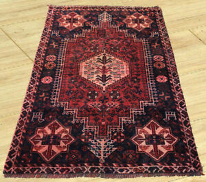 Vintage Hand Knotted Persian Sherazi Sheraz Area Rug 4x5 Ft