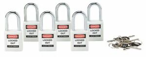 Brady White Lockout Padlock Different Key Type Thermoplastic Body Material 6