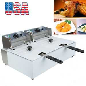 Commercial 5000w 11l Dual Tanks Electric Deep Fryer Tabletop Fryer basket Scoop