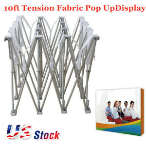 Us 10ft Tension Fabric Pop Up Display Backdrop Stand Trade Show Booth Frame Only
