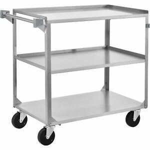 3 Shelf Stainless Steel Utility Cart 27 5 8 X 16 3 4 X 32 500 Lb Cap Lot Of 1