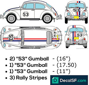 Car Herbie Love Bug Decals Set Vehicle Graphics Stickers Print Vinyl Wv Kit 53