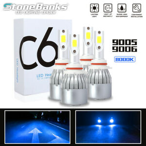 9005 9006 Blue Light 8000k Cob Led Headlight 100w 20000lm Hi Lo Beam Fog Bulbs