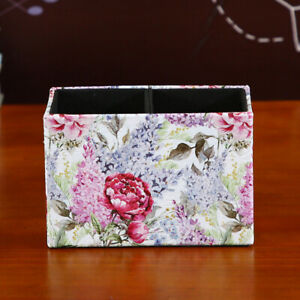 Red Purple Flower Lilac Rectangular Pencil Cup Pen Holder Office Desk Organizer