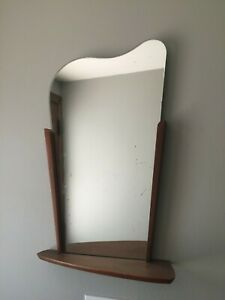Mid Century Danish Modern Teak Sculptural Biomorphic Wall Mirror W Shelf