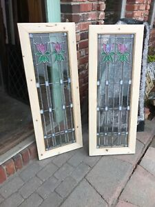 Sg2891 2 Av Price Each Antique Leaded And Stained Glass Window 44 X 17