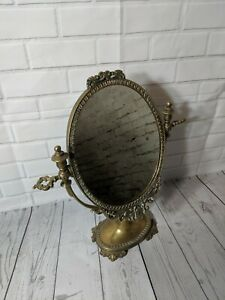 Vintage Brass Vanity Mirror Swivel Mirror Ornate Table Mirror
