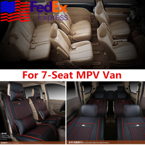 Deluxe Black Pu Leather Seat Cover Cushion Universal pillow For 7 Seats Van Mpv
