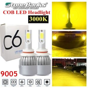 9005 Hb3 H10 Cob Led Headlight Bulb 100w 20000lm 3000k Yellow Low Beam Fog Lamps