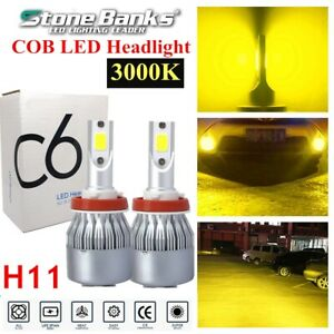 H8 H9 H11 3000k Yellow Light Cob Led Headlight Fog Bulbs 100w 20000lm Low Beam