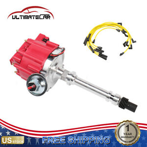 Ignition Distributor W Coil Spark Plug Wires For Chevy Sbc 350 Bbc 454 Hei