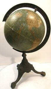 Antique Rand Mcnally 8 Terrestrial World Globe W Clawfoot Tripod Iron Stand