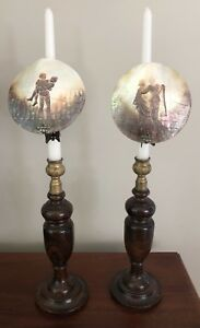 Pair Antique French Carved Nautilus Seashell Sea Shell Figural Lamp Shade Pair