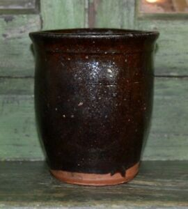 Antique Primitive Redware Crock Slip Glazed